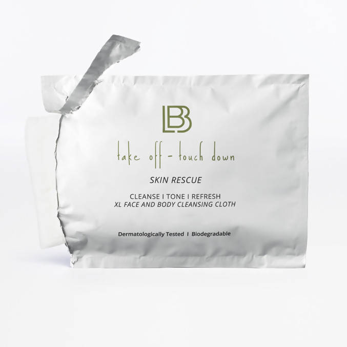 Take Off-Touch Down XL Biodegradable Face & Body Cleansing Cloths, Individually Wrapped (Travel Friendly Pack of 12)