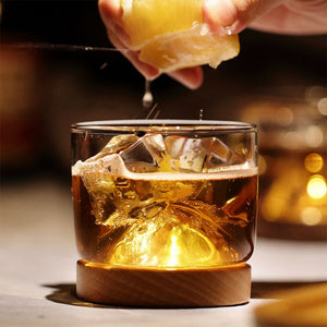 Whiskey Glass Mountain Wooden Bottom | Transparent Glass with Wooden Holder for Whiskey, Wine, Spirits | Bar Club