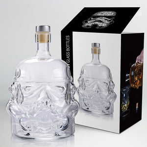 Cool Star Wars Storm Trooper Helmet Whiskey Decanter and Drinking Glass | Crystal Glass Spirits or Wine Decanter Bottle | Buy as a set or individually