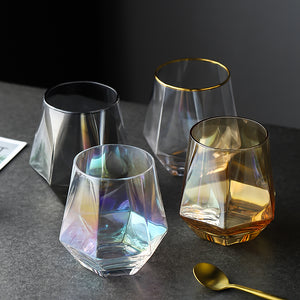 Geometry Whiskey Glass | Diamond Crystal Drinking Glass | Smoky | Golden Rim | Transparent Unicorn Rainbow | Home Bar Drinkware Gifts