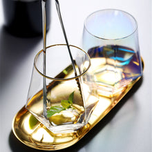 Load image into Gallery viewer, Geometry Whiskey Glass | Diamond Crystal Drinking Glass | Smoky | Golden Rim | Transparent Unicorn Rainbow | Home Bar Drinkware Gifts
