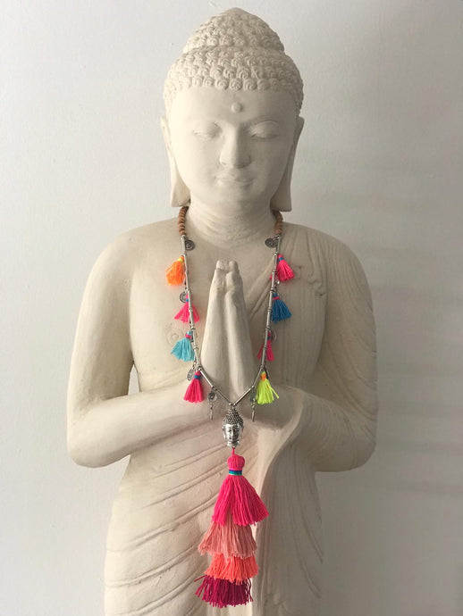 Buddha Necklace - Multicolour Pink