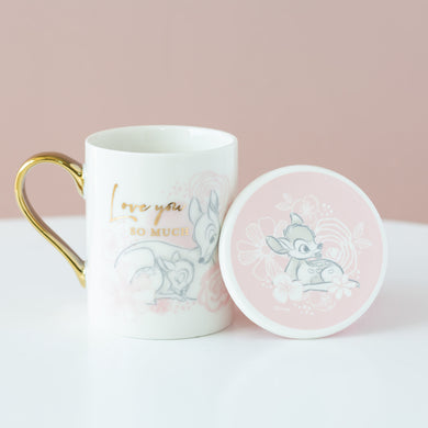 Disney Bambi Love you so much Cup & Coaster set-Gift a Little gift shop