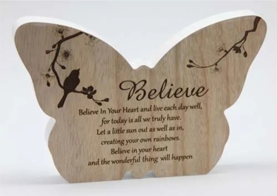 Sincerity Butterfly Sentiment Plaque Believe-Gift a Little gift shop
