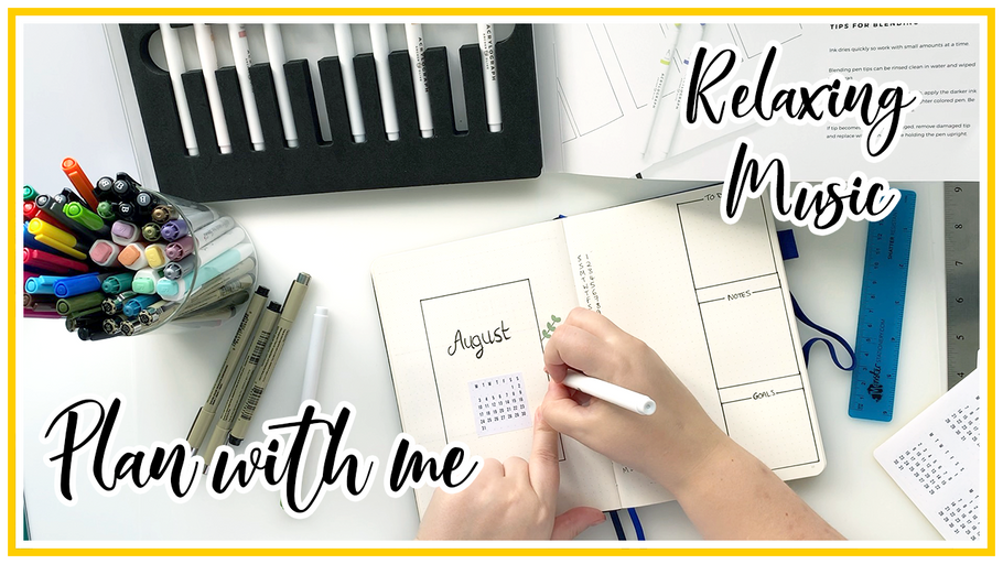 Plan with Me - August 2020 Bullet Journal setup - Monthly Spread & Future Log with paint pens