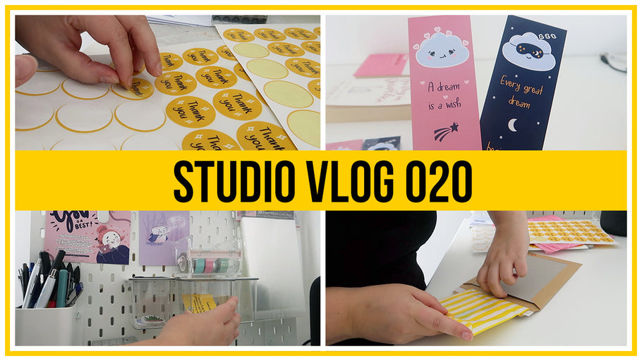 Studio Vlog - How I package my Etsy orders, Designing thank you card & making cute bookmarks