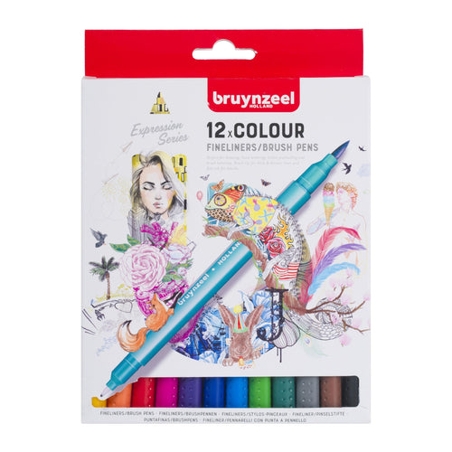 Creatives 12 fineliner brush pen set Bruynzeel - Paper Dream