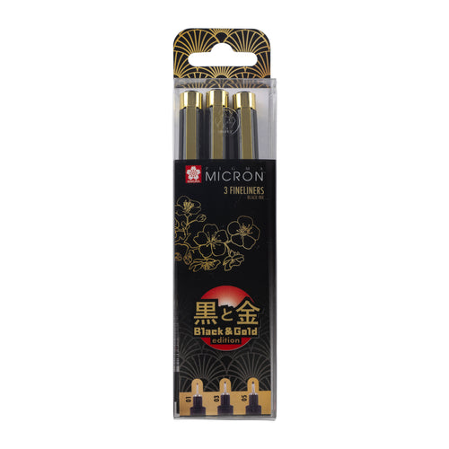 Sakura pigma micron set of three fineliner pens in box  - Black and Gold Edition - Paper Dream