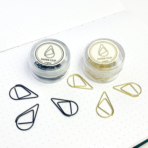 Tear drop paper clips in black and gold