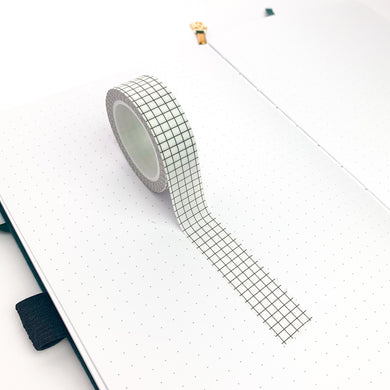 White grid washi tape laid out