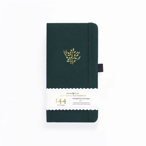 Archer and Olive Travelers Deep Green 144 Pages Dot Grid Notebook - Front Cover with sleeve - Paper Dream