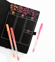 Load image into Gallery viewer, Archer and Olive blackout dot grid bullet journal with sakura gelly roll pens