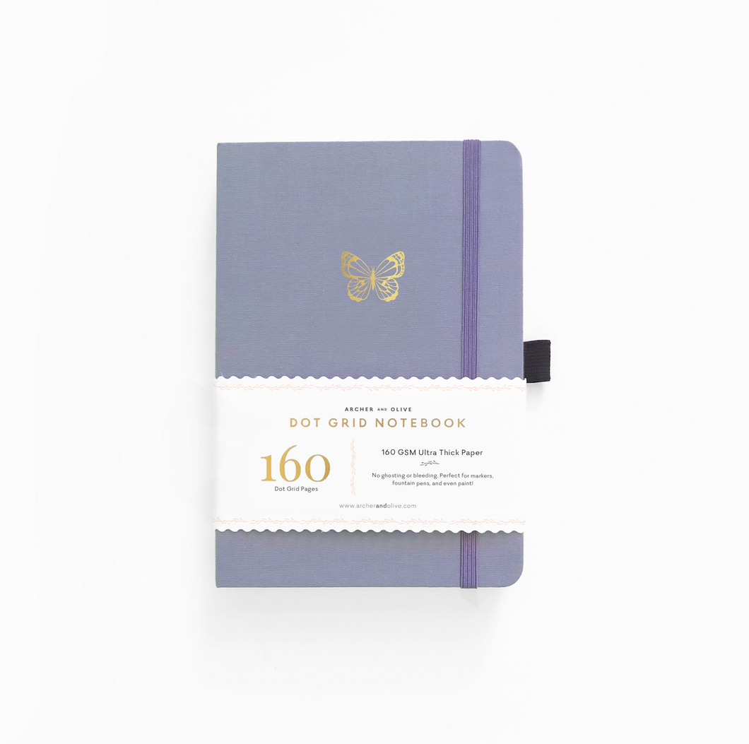 Archer and Olive Butterfly Wings dot grid notebook bullet journal 160 pages a5 - Paper Dream