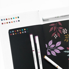 Load image into Gallery viewer, Archer and olive cool fall acrylograph pen swatches on white and blackout