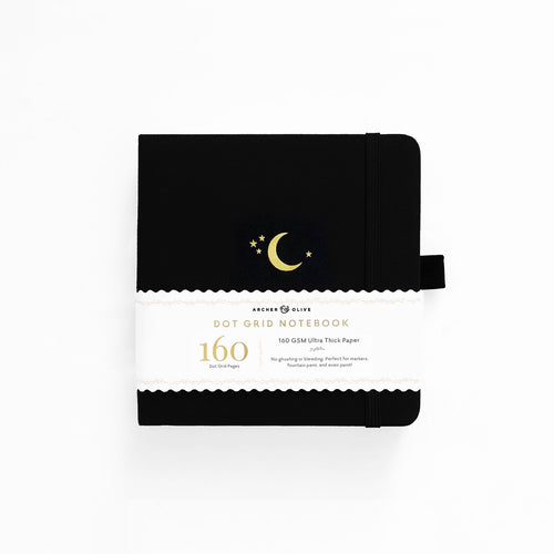 Archer and Olive 8x8 Crescent Moon 160 Pages Dot Grid Notebook - Front Cover with sleeve - Paper Dream