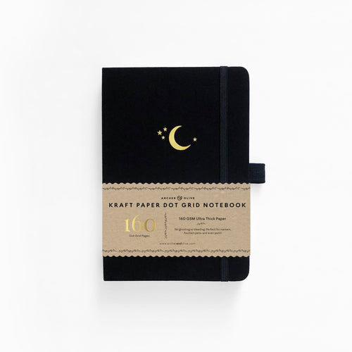 Archer and Olive Crescent Moon Kraft dot grid notebook bullet journal 160 pages a5 - Paper Dream