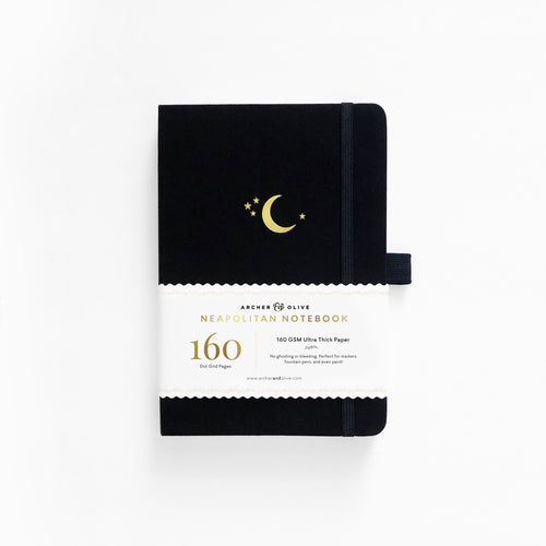 Archer and Olive Crescent Moon Neapolitan dot grid notebook bullet journal 160 pages a5 - Paper Dream