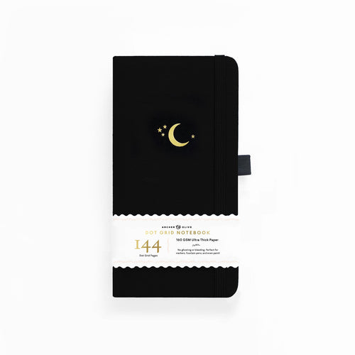 Archer and Olive Travelers Crescent Moon 144 Pages Dot Grid Notebook - Front Cover with sleeve - Paper Dream