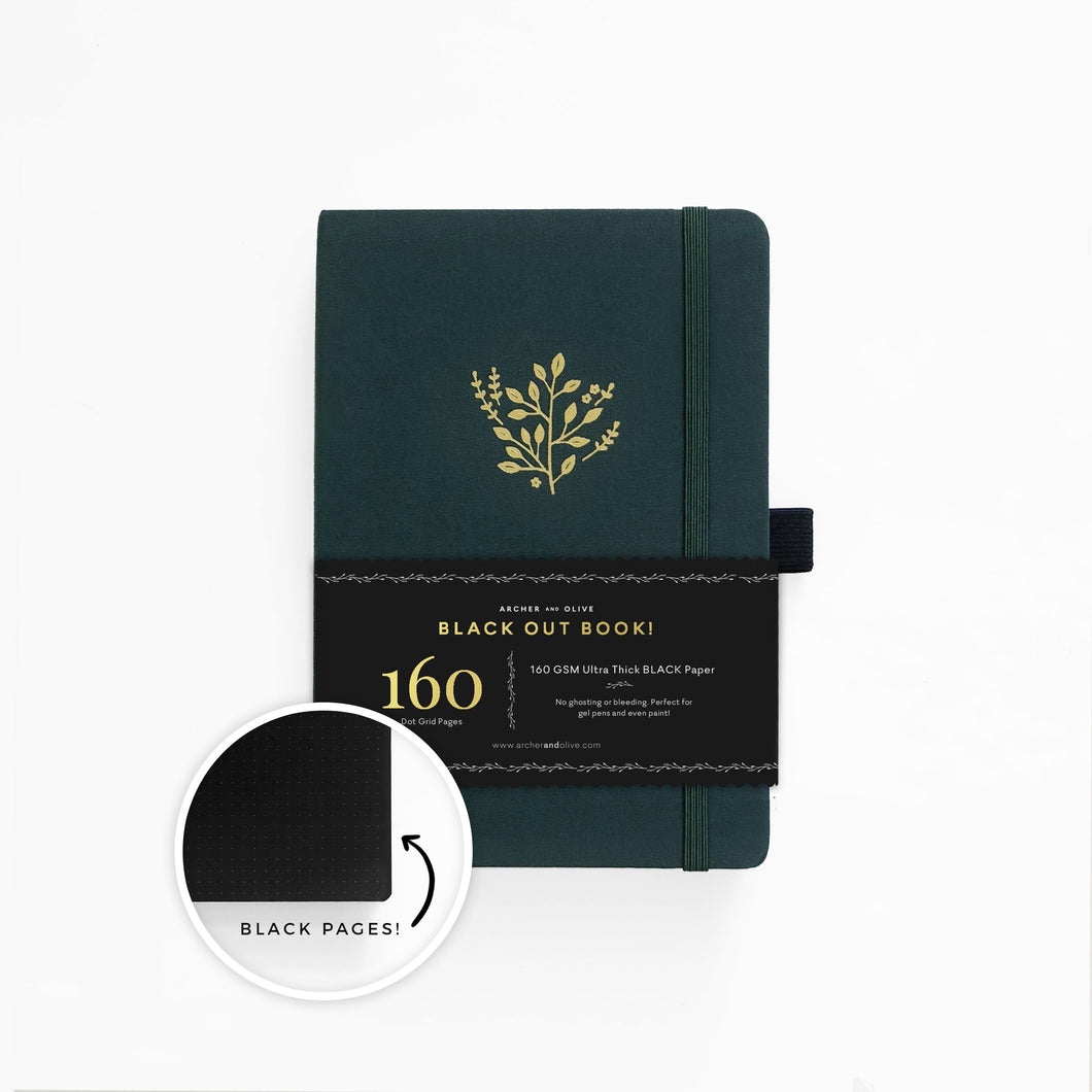 Archer and Olive Deep Green blackout dot grid notebook bullet journal 160 pages a5 zoom - Paper Dream