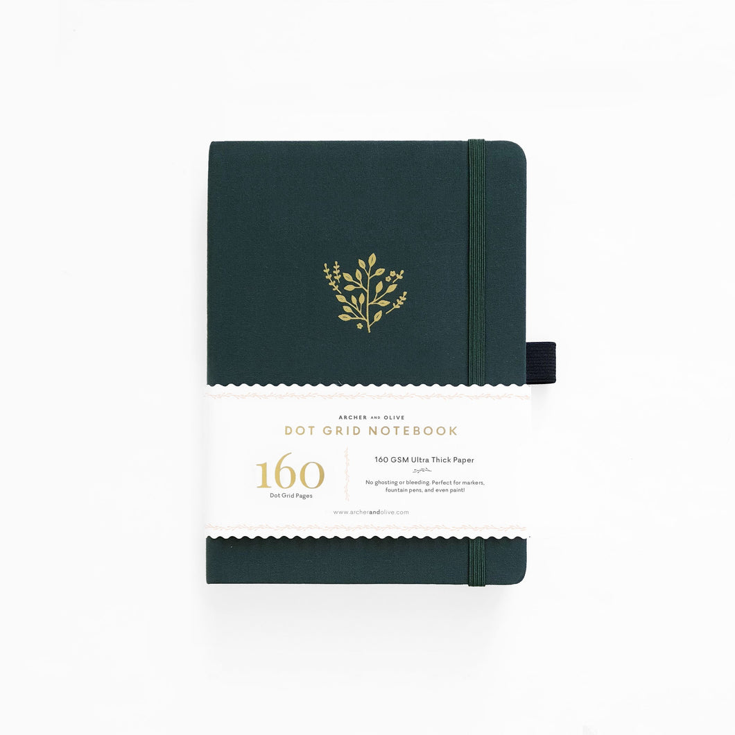 Archer and Olive Deep Green dot grid notebook bullet journal 160 pages B5 - Paper Dream