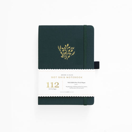 Archer and Olive B6 Deep Green 112 Pages Dot Grid Notebook - Paper Dream