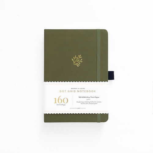 Archer and Olive Green Leaf dot grid notebook bullet journal 160 pages a5 sleeve - Paper Dream