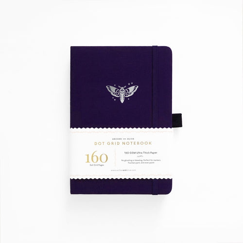 Archer and Olive Midnight Moth dot grid notebook bullet journal 160 pages a5 sleeve - Paper Dream