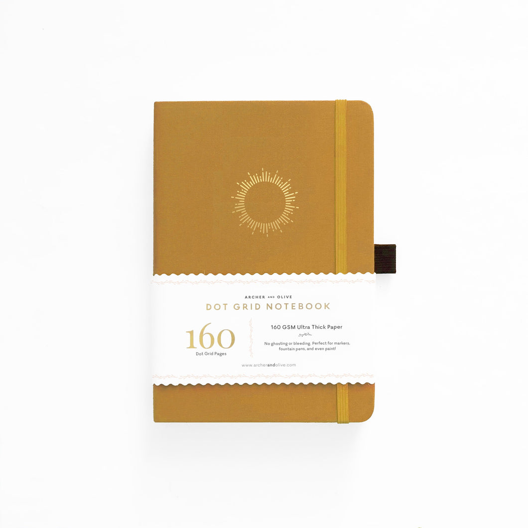 Archer and Olive A5 Morning Sun 160 Pages Dot Grid Notebook - Front Cover with Sleeve - Paper Dream