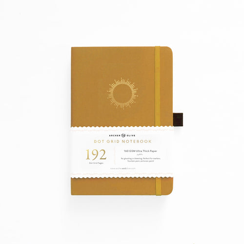 Archer and Olive A5 Morning Sun 192 Pages Dot Grid Notebook - Front Cover with Sleeve - Paper Dream