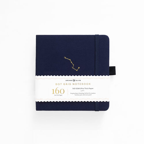 Archer and Olive 8x8 Night Sky 160 Pages Dot Grid Notebook - Front Cover with sleeve - Paper Dream