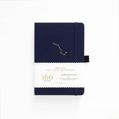 Archer and Olive A5 Night Sky 160 Pages Dot Grid Notebook - Front Cover with sleeve - Paper Dream