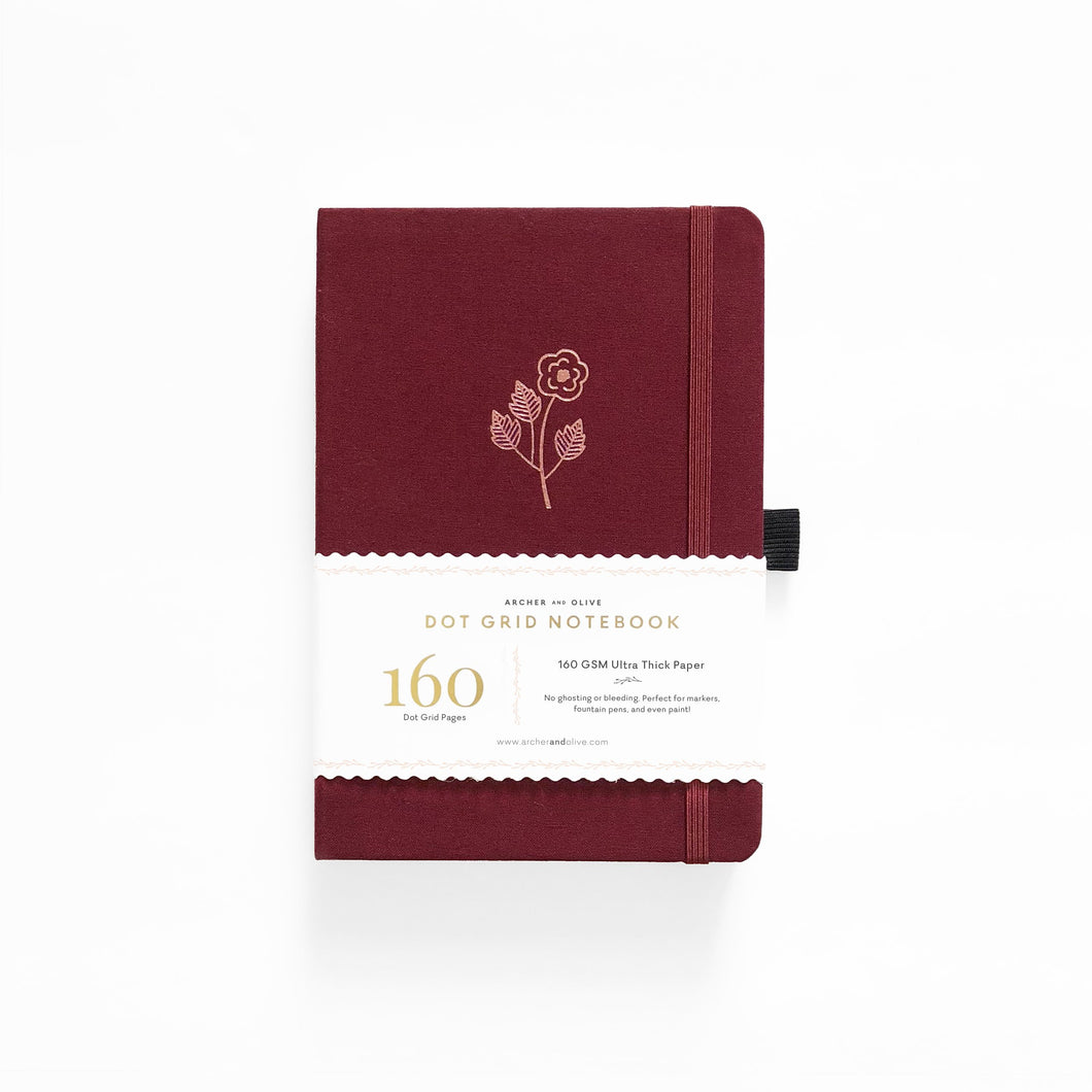 Archer and Olive Rose Gold dot grid notebook bullet journal 160 pages a5 sleeve - Paper Dream