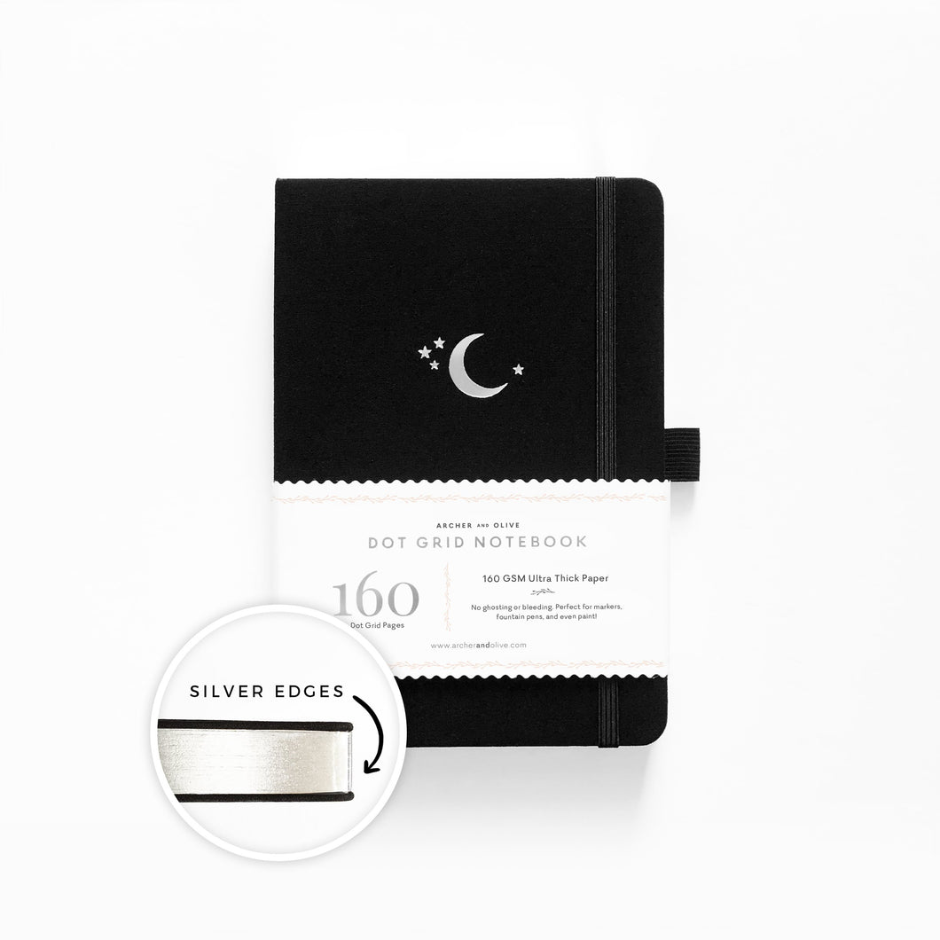 Archer and Olive Gilded A5 Silver Crescent 160  Pages Dot Grid Notebook - Zoom - Paper Dream