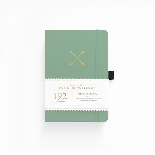 Archer and Olive A5 Twin Arrows 192 Pages Dot Grid Notebook - Front Cover with Sleeve - Paper Dream