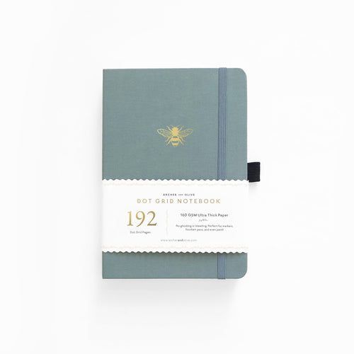 Archer and Olive A5 Vintage Bee 192 Pages Dot Grid Notebook - Front Cover with Sleeve - Paper Dream