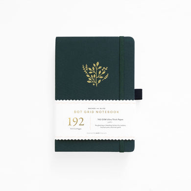 Archer and Olive A5 Deep Green 192 Pages Dot Grid Notebook - Front Cover with Sleeve - Paper Dream