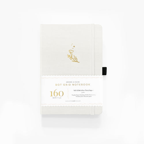 Archer and Olive A5 Moon Flowers 160 Pages Dot Grid Notebook - Front Cover with Sleeve - Paper Dream