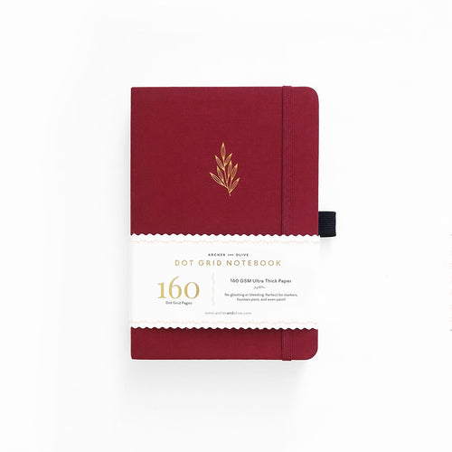 Archer and Olive A5 Red Leaf 160 Pages Dot Grid Notebook - Front Cover with Sleeve - Paper Dream