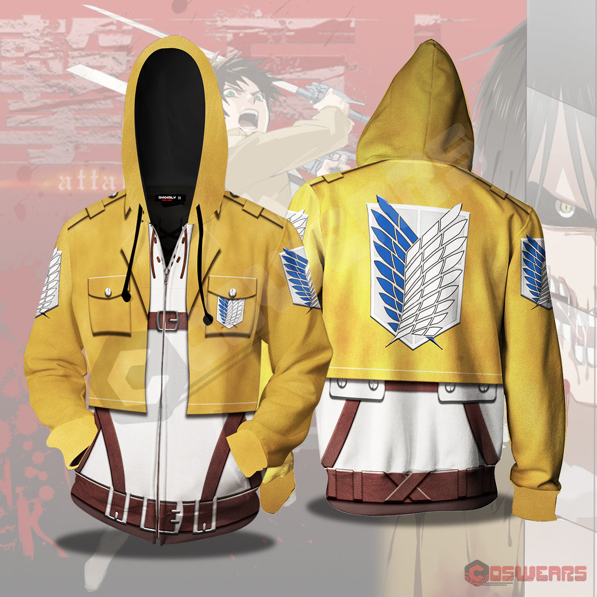Attack on Titan - Eren Yeagar Inspired Zipped Hoodie