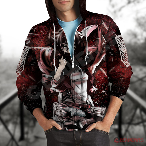 Attack on Titan- Mikasa Inspired Zipped Hoodie