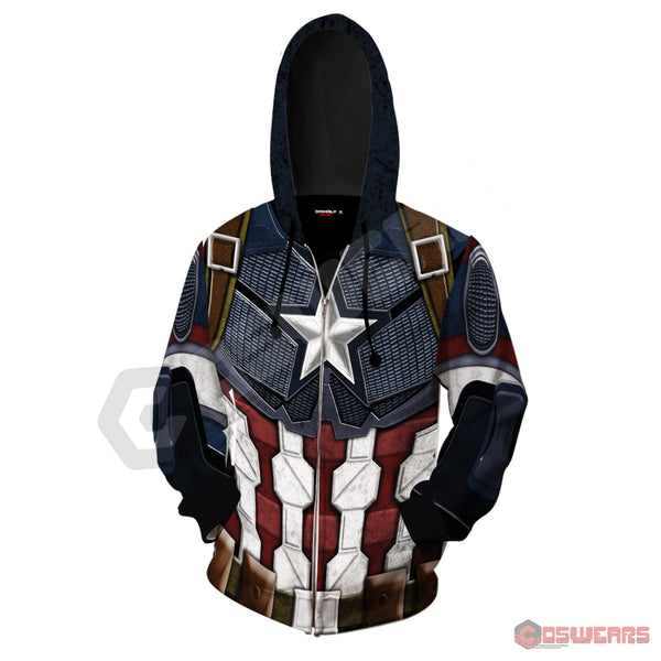 Avengers: End Game Captain America Inspired Zipped Hoodie