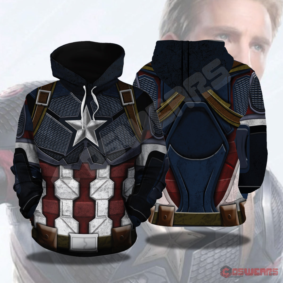 Avengers: End Game Captain America Inspired Pullover Hoodie