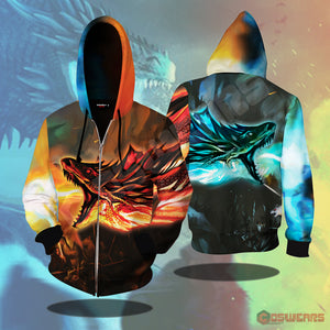 Game of Thrones Fire and Ice Zipped Hoodie
