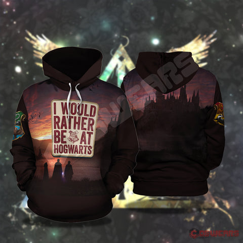 Harry Potter I'd Rather Be At Hogwartz Pullover Hoodie