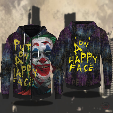 The Joker : Put on a Happy Face Zipped Hoodie