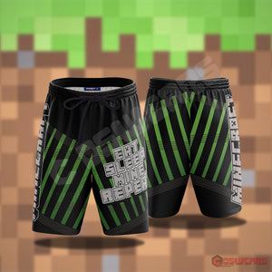 Minecraft Eat Sleep Mine Beach Shorts