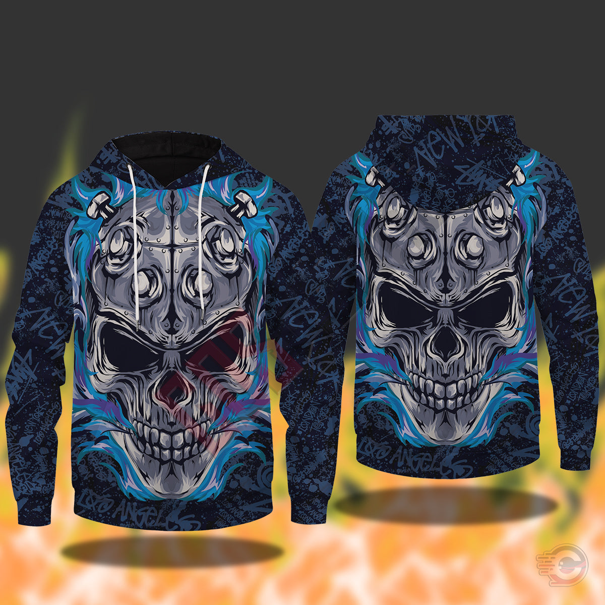 Original Designs : Flaming Skull Pullover Hoodie