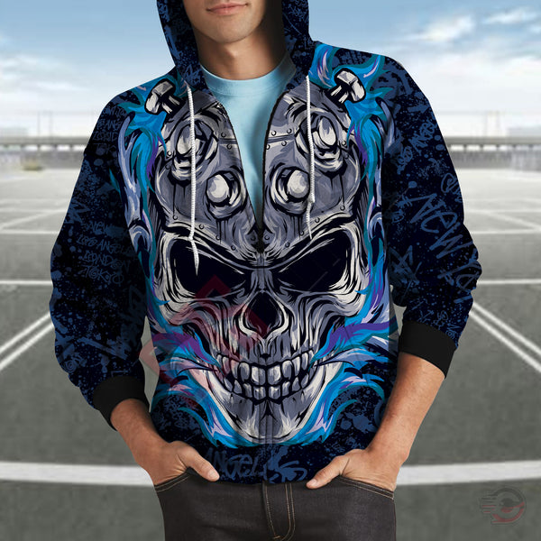 Original Designs : Flaming Skull Zipped Hoodie