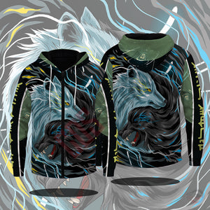 Original Designs : Yin Yang Wolves Zipped Hoodie