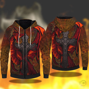Original Design : Red Dragon Zipped Hoodie